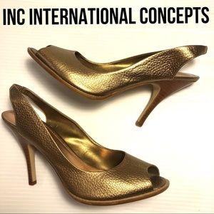 INC International Concepts Hessa gold bronze heels